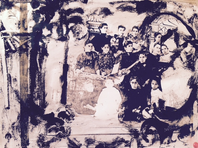 "DeHoyos Sisters, monotype on archival printing, 8""x10"" 2015"