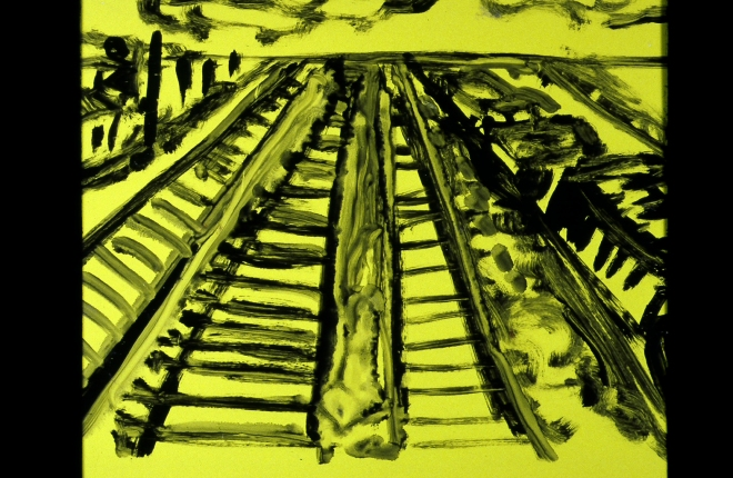 yellow train yard painting