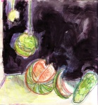 Study of Quince,melon & cucmber from memory.
